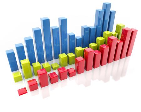 grafica de barras: tres dimensiones gr�ficos de barras aisladas sobre fondo blanco