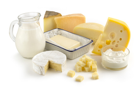 assortment of dairy products isolated on white background