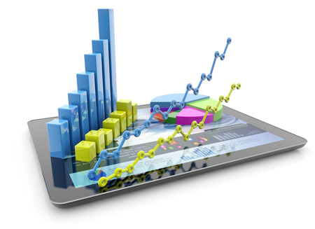 sales report: graphs and charts over a tablet on white background Stock Photo