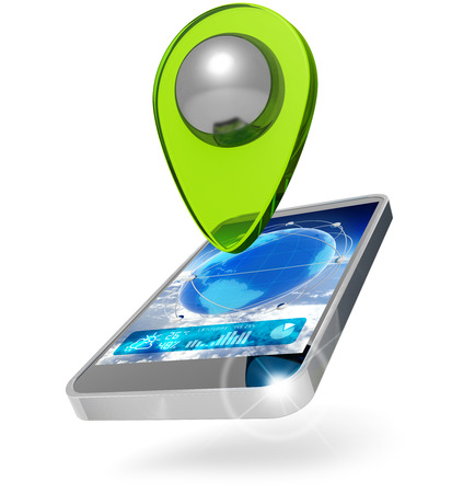 mobile phone with location marker on white background photo