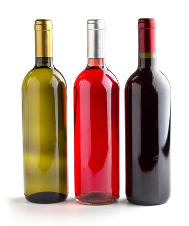 set of three wine bottles on white background