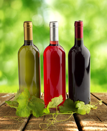 wine grower: wine bottles and grapevine on wooden table Stock Photo