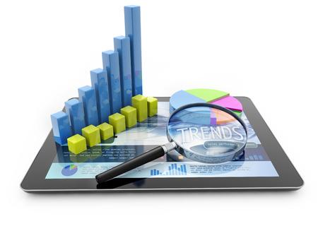 zvětšovací: grafy a lupa nad přenosný počítač na bílém pozadí Reklamní fotografie