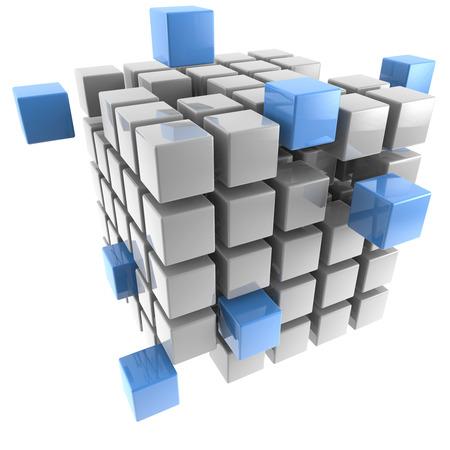 három-dimenziós kocka elszigetelt fehér háttér Stock fotó