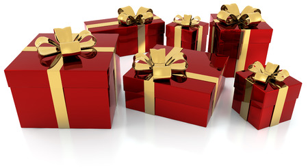 pile of red gift parcels with golden ribbon photo
