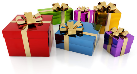 colorful gift parcels with golden ribbon on white background photo