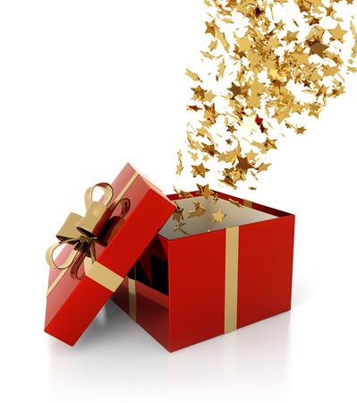 Estrellas doradas que salen de un paquete de regalo Foto de archivo - 31001334