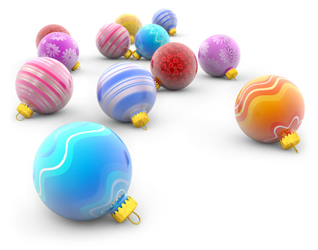 group of colorful christmas balls on white background photo