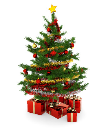 christmas tree and gift parcels on white background photo