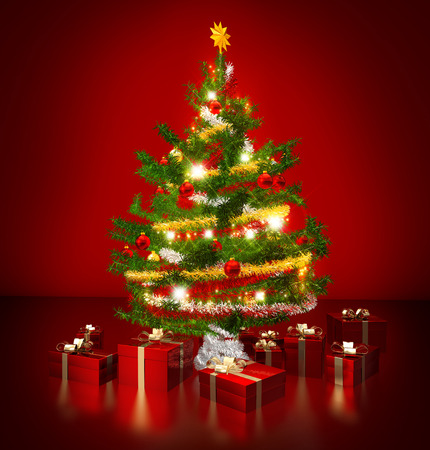 gleaming: gleaming christmas tree and presents in red background