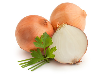 onion peel: brown onions, chives and parsley on white background