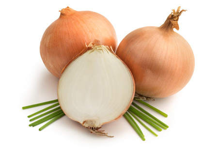 brown onions and chives on white background photo