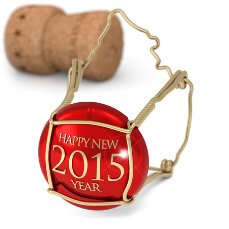 champagne red cork isolated on white background photo