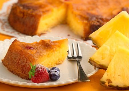 maraschino: piece of pineapple cake and fresh pineapple Stock Photo