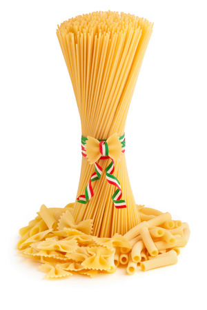 bunch of spaghetti and pasta types on white background photo