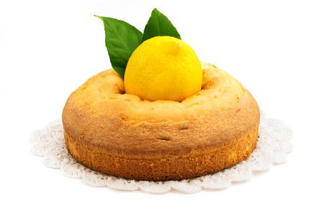 homemade lemon pie isolated on white background photo
