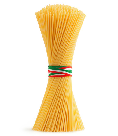 ribbon pasta: bunch of spaghetti tied by a tricolour strip