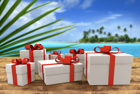 set of gift packs on wooden table in tropical landscape photo