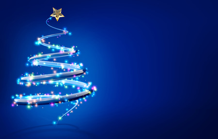 abstract christmas tree isolated on blue background photo
