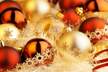 set of christmas balls and decorative ribbons photo
