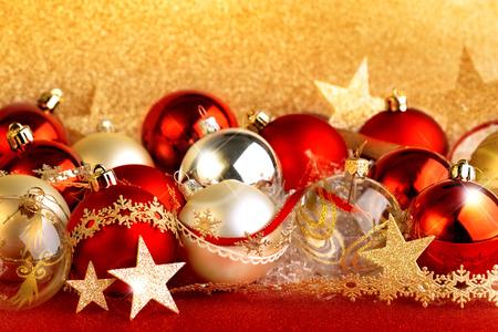 set of christmas balls, stars and ribbons photo