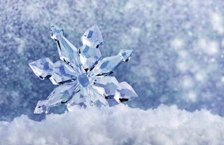 ice crystal on snow in blurred background Stock Photo