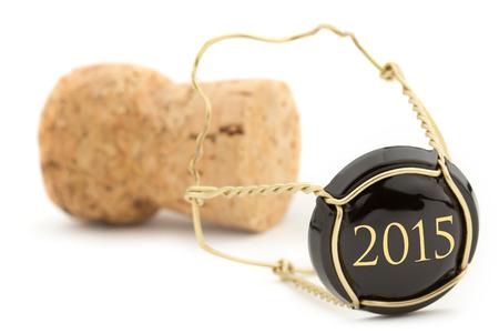close-up van champagne kurk op een witte achtergrond