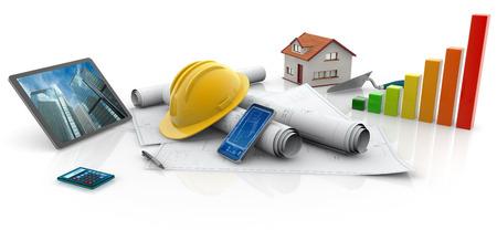 blueprints, protective helmet and contractors work tools