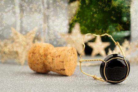 close up of champagne cork isolated on festive background photo