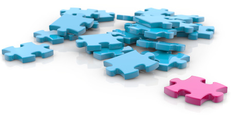jigsaw pieces pink and blue on white background photo