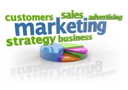 marketing keywords and pie chart on white background photo
