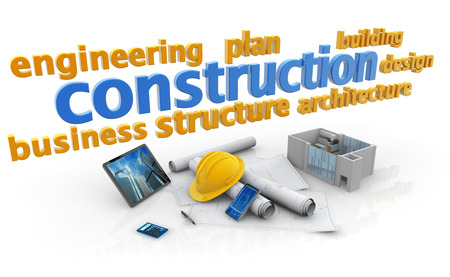 keywords of construction industry, blueprints, house model and safety hat photo