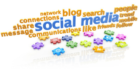keywords: keywords of social media and puzzle pieces on white background Stock Photo