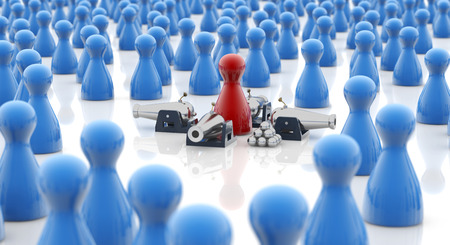 computer virus protection: red pawn armed with cannons in a crowd Stock Photo