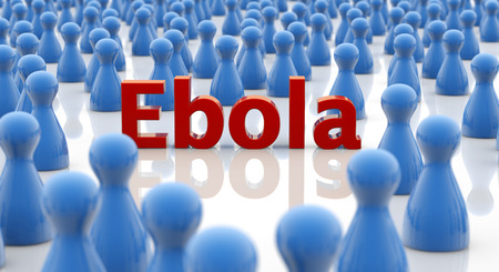 word ebola in a crowd of blue pawns photo
