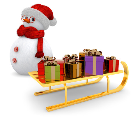snowman and golden sled on white background photo