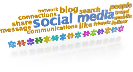 keywords of social media and puzzle pieces on white background photo