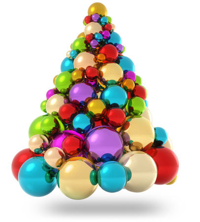 multi colors: christmas tree made of colorful christmas baubles Stock Photo