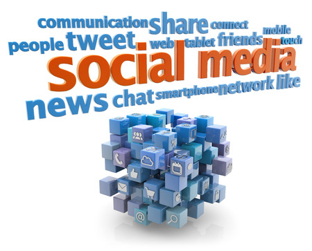 keywords: social media keywords and blue cube on white background