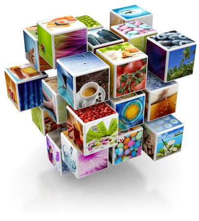 software box: cubic structure with colorful pictures isolated on white background