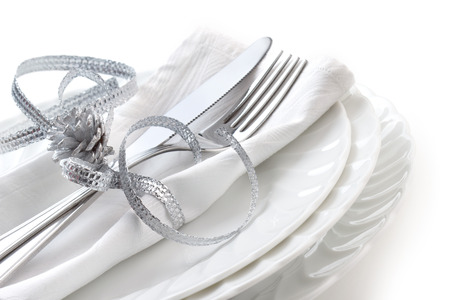 close up od place setting on white background