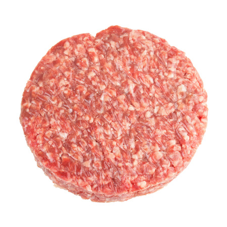 one beef burger isolated on white background