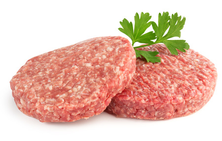 the lamb: hamburger patties and parsley isolated on white background