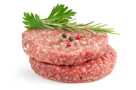 veal sausage: hamburger patties and aromatic herb isolated on white background Stock Photo