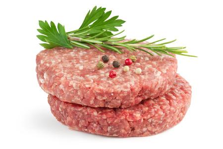 hamburger pogácsákat és aromás fűszernövény, elszigetelt, fehér, háttér Stock fotó