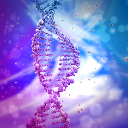 biotech: dna double helix in abstract background Stock Photo