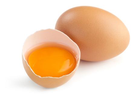 albumen: close up of broken egg isolated on white