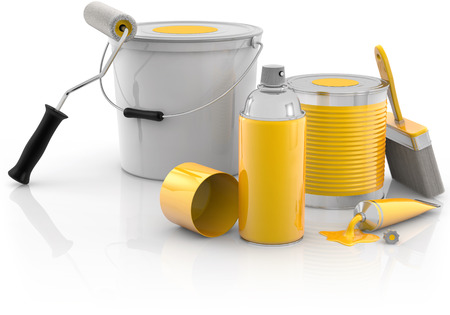 spray paint, paint cans and painting tools