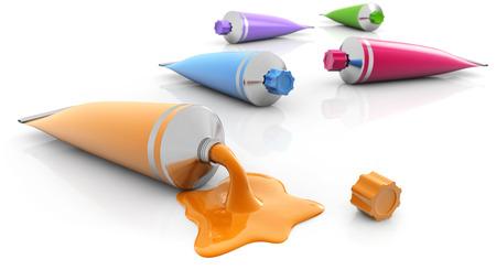 set of paint tubes on white background photo