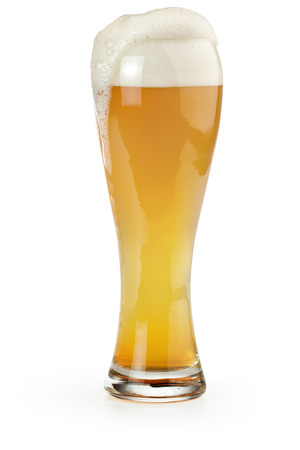 pint glass: pint of wheat beer isolated on white background